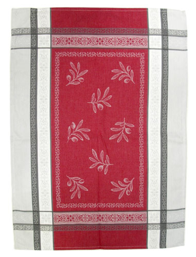 Set of 3 Jacquard dish cloths (Olivia. grey-red)