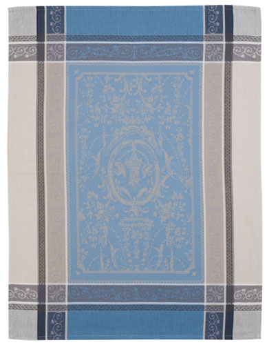 Set of 3 Jacquard dish cloths (Versailles. raw bleu)