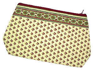 Provence Quilted Pouch PM (Lourmarin. beige x bordeaux)