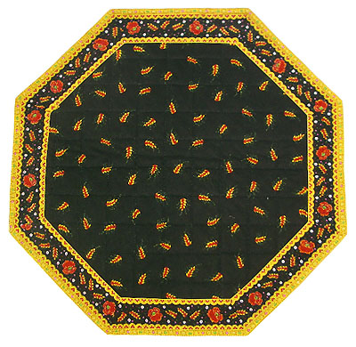 Octogonal table mat, Valdrome (wheat. black)