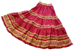 Provence tiered skirt, long (Lourmarin. bordeaux x yellow)