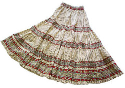 Provence tiered skirt, long (Lourmarin. beige x bordeaux)