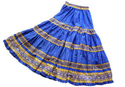 Provence tiered skirt, long (Lourmarin. blue x yellow)
