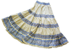 Provence tiered skirt, long (Lourmarin. white x blue)