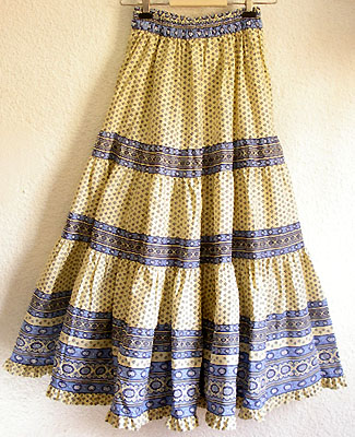 Provence tiered skirt, long (Lourmarin. white x blue) : :Bohemian ...
