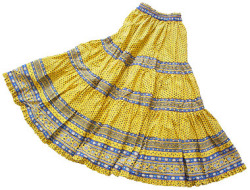 Provence tiered skirt, long (Lourmarin. yellow x blue)