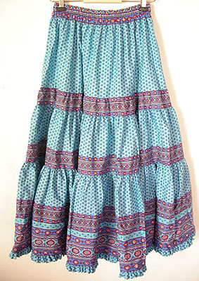 Provence tiered skirt, long (Lourmarin. turquoise blue)
