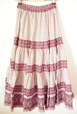 Provence tiered skirt, long (Lourmarin. white x pink)
