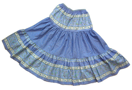 Provence tiered skirt, long (Paradou. lagon)