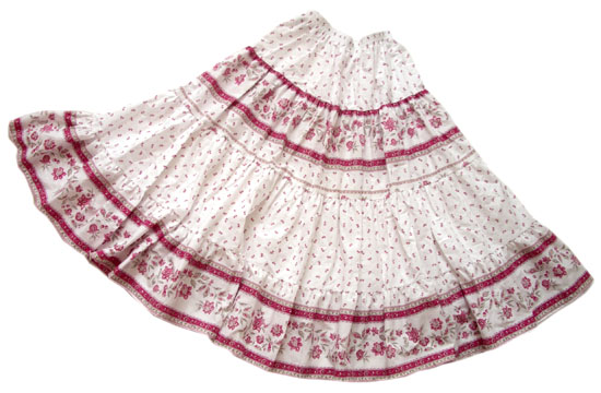Provence tiered skirt, long (Castellane. white rose)