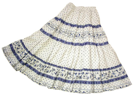 Provence tiered skirt, long (Paradou. white x blue)