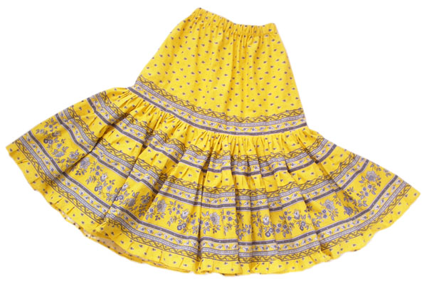 Provence tiered skirt, long (Mireille_feuille. yellow)