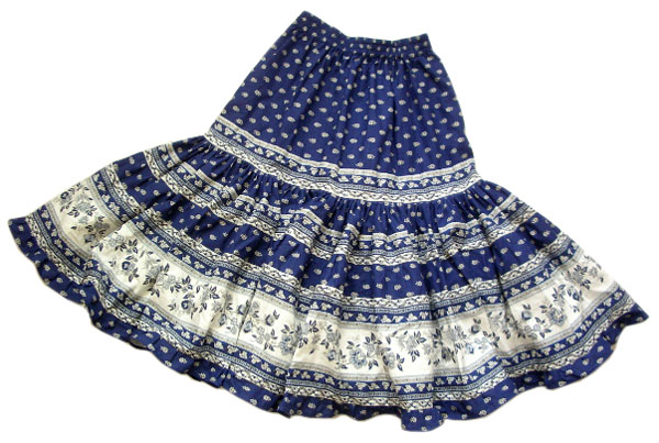 Provence tiered skirt, long (Mireille_feuille. navy blue)
