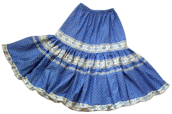 Provence tiered skirt, long (Esterel. blue)
