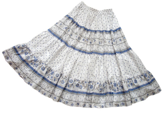 Provence tiered skirt, long (Castellane. white blue)
