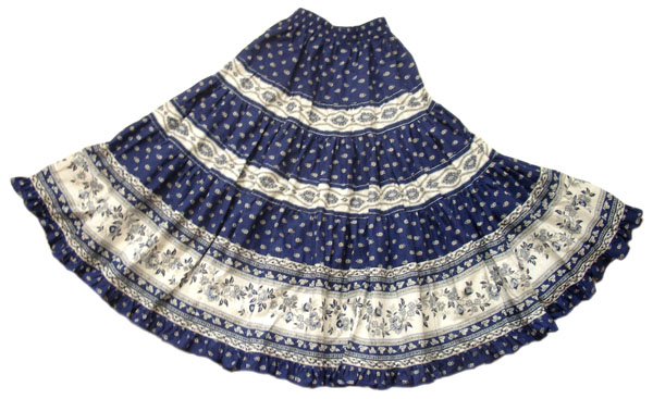 Provence tiered skirt, long (Mireille_medaille. navy blue)