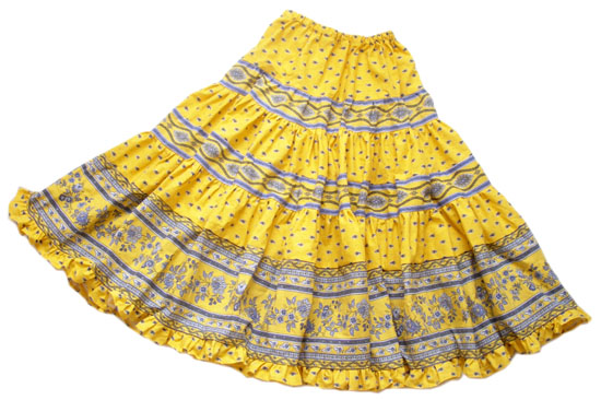 Provence tiered skirt, long (Mireille_medaille. yellow)