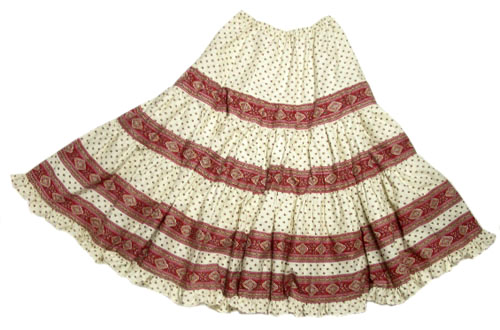 Provence tiered skirt, long (Esterel. raw/bordeaux)