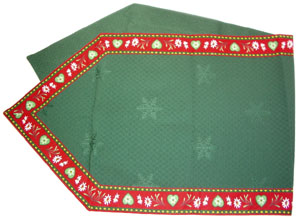 French Alps table runner (Christmas. bordeaux x green)