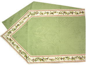 French Jacquard Table runner (olives 2009. mint green)