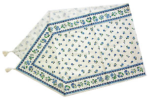 Provencal Table center - runner (flower pattern. white x blue)