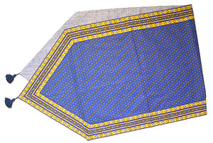 Provencal Table center - runner (Lourmarin. blue x yellow)