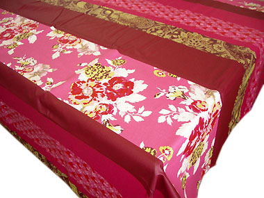 French Coated Tablecloth (flowers. Framboise   Pink)