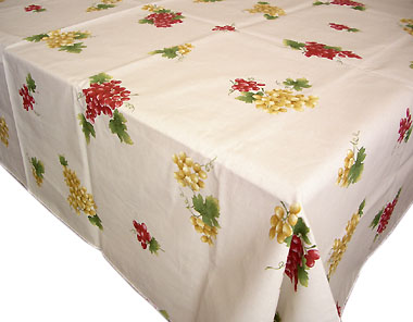 Cotton Tablecloth Grape Raw French Rectangle