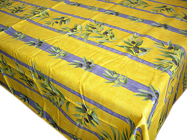 French Coated Tablecloth, Linear (olives. Yellow X Blue)