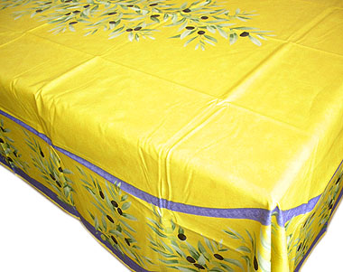 French Coated Tablecloth (olives. Yellow X Blue)