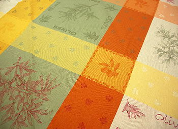 French round coated Jacquard tablecloth